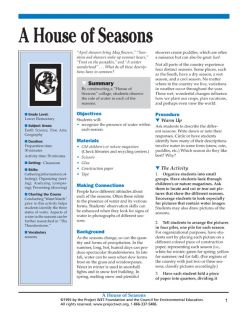 """""""House of Seasons"""" Activity, PDF DOWNLOAD"""