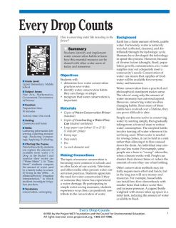 """Every Drop Counts"" Activity, PDF DOWNLOAD"