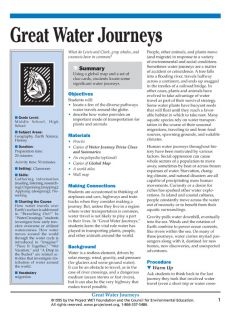 """Great Water Journeys"" Activity, PDF DOWNLOAD"