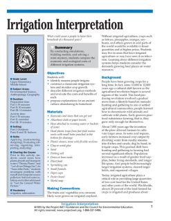 """Irrigation Interpretation"" Activity, PDF DOWNLOAD"