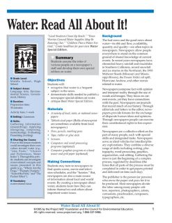 """""""Water: Read All About It!"""" Activity, PDF DOWNLOAD"""