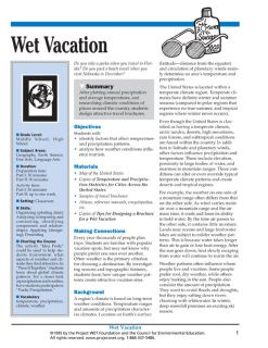 """""""Wet Vacation"""" Activity, PDF DOWNLOAD"""