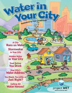 The Water in Your City cover features a city by a body of water where kids play in a park, a splash pad, and in a neighborhood while people test water quality and water plants.